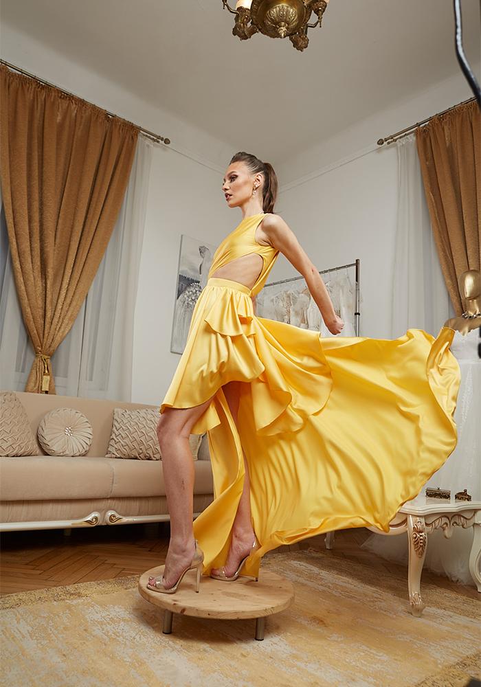 Rochie Eleganta de Seara Galbena - Atelier Rochii Elegante de Seara Bucuresti